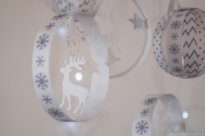 Boules et mobile de Noël en papier